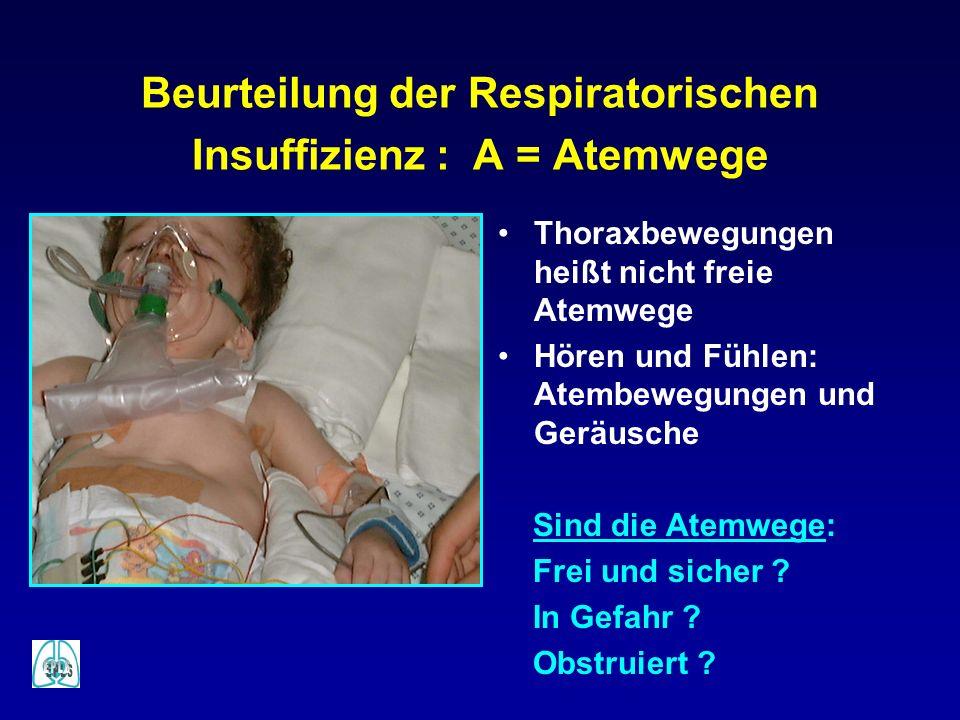 Beurteilung der Respiratorischen Insuffizienz : A = Atemwege