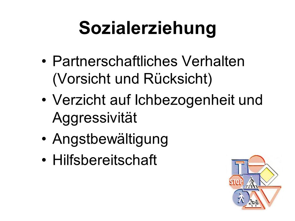 Sozialerziehung Partnerschaftliches Verhalten (Vorsicht und Rücksicht)