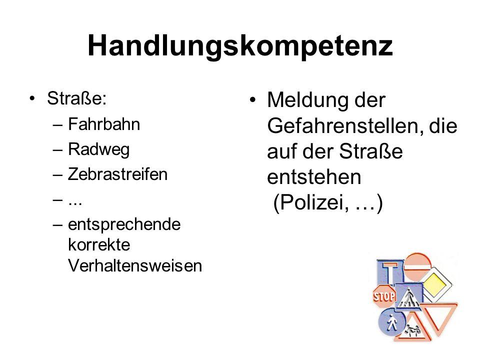 Handlungskompetenz Straße: Fahrbahn. Radweg. Zebrastreifen. ... entsprechende korrekte Verhaltensweisen.