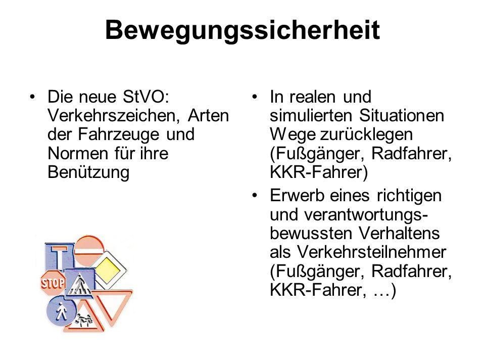 Bewegungssicherheit Die neue StVO: Verkehrszeichen, Arten der Fahrzeuge und Normen für ihre Benützung.