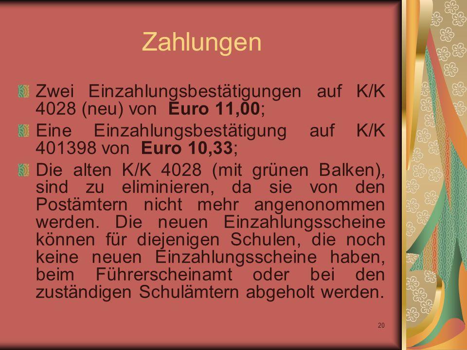 Zahlungen Zwei Einzahlungsbestätigungen auf K/K 4028 (neu) von Euro 11,00; Eine Einzahlungsbestätigung auf K/K 401398 von Euro 10,33;