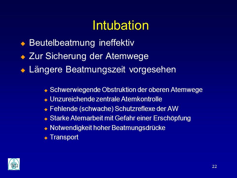 Intubation Beutelbeatmung ineffektiv Zur Sicherung der Atemwege