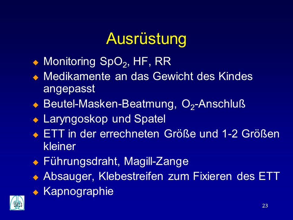 Ausrüstung Monitoring SpO2, HF, RR