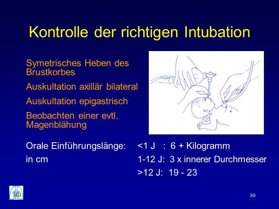 Kontrolle der richtigen Intubation