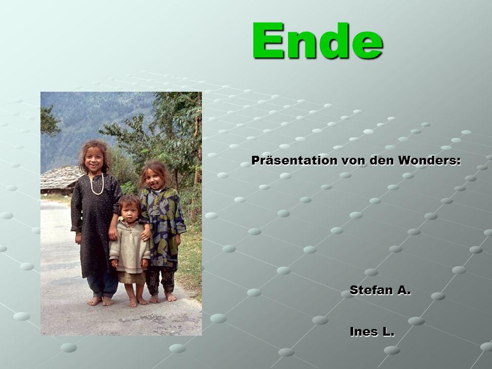 Ende Präsentation von den Wonders: Stefan A. Ines L. Magdalena S.