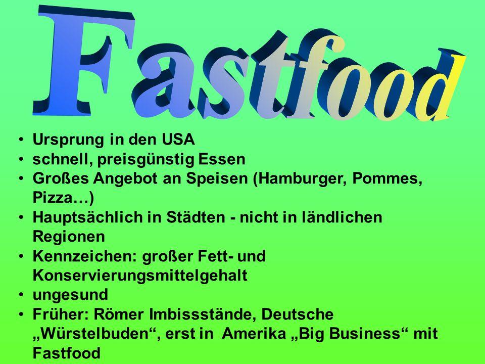 Fastfood Ursprung in den USA schnell, preisgünstig Essen