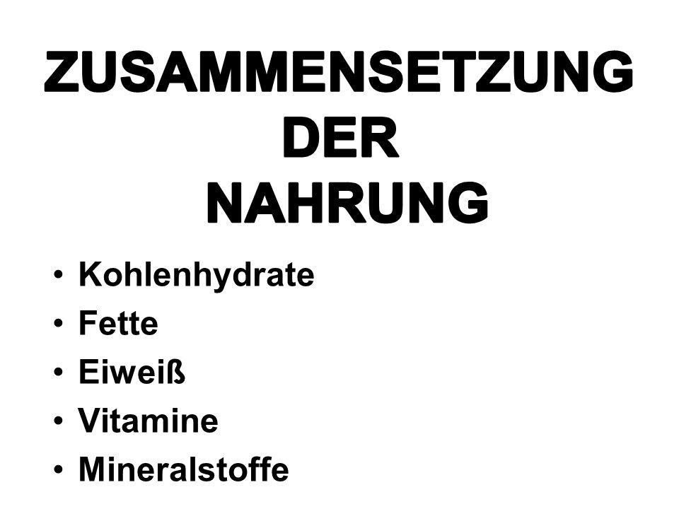 Kohlenhydrate Fette Eiweiß Vitamine Mineralstoffe ZUSAMMENSETZUNG DER