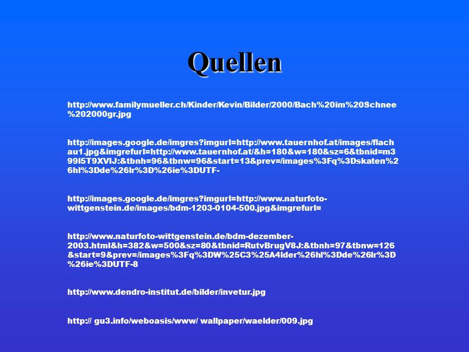 Quellen http://www.familymueller.ch/Kinder/Kevin/Bilder/2000/Bach%20im%20Schnee%202000gr.jpg.