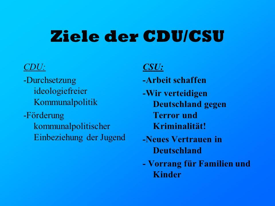 Ziele der CDU/CSU CDU: -Durchsetzung ideologiefreier Kommunalpolitik