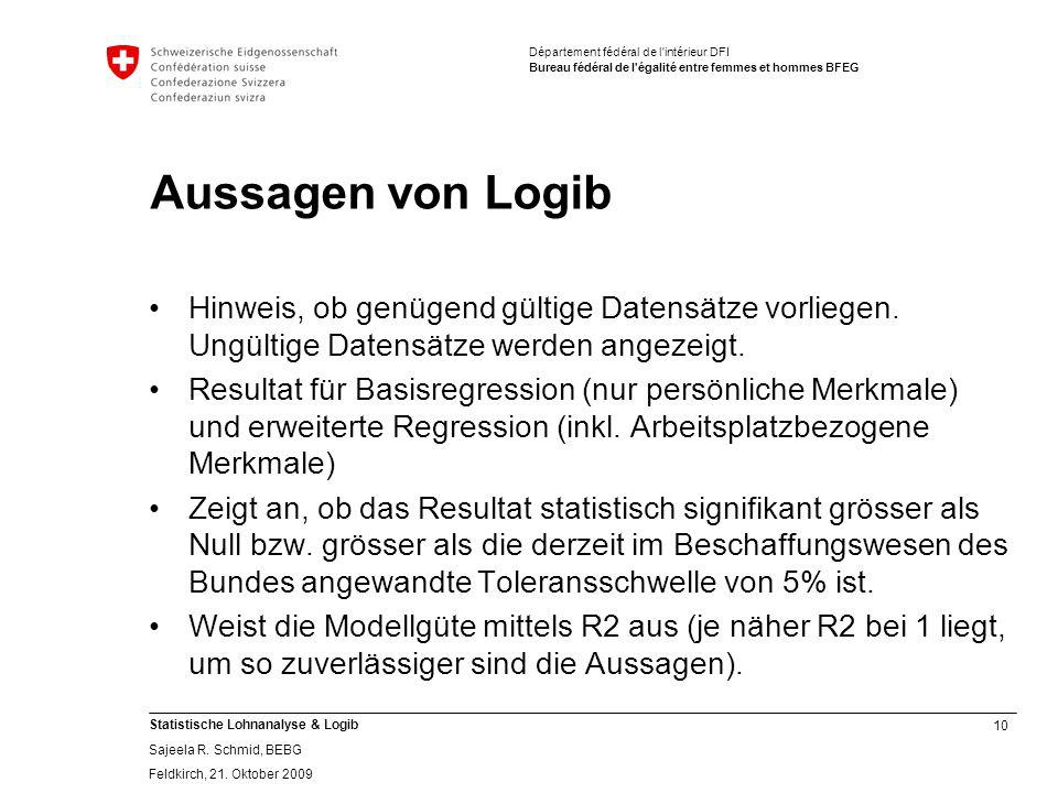 Aussagen von Logib Hinweis, ob genügend gültige Datensätze vorliegen. Ungültige Datensätze werden angezeigt.
