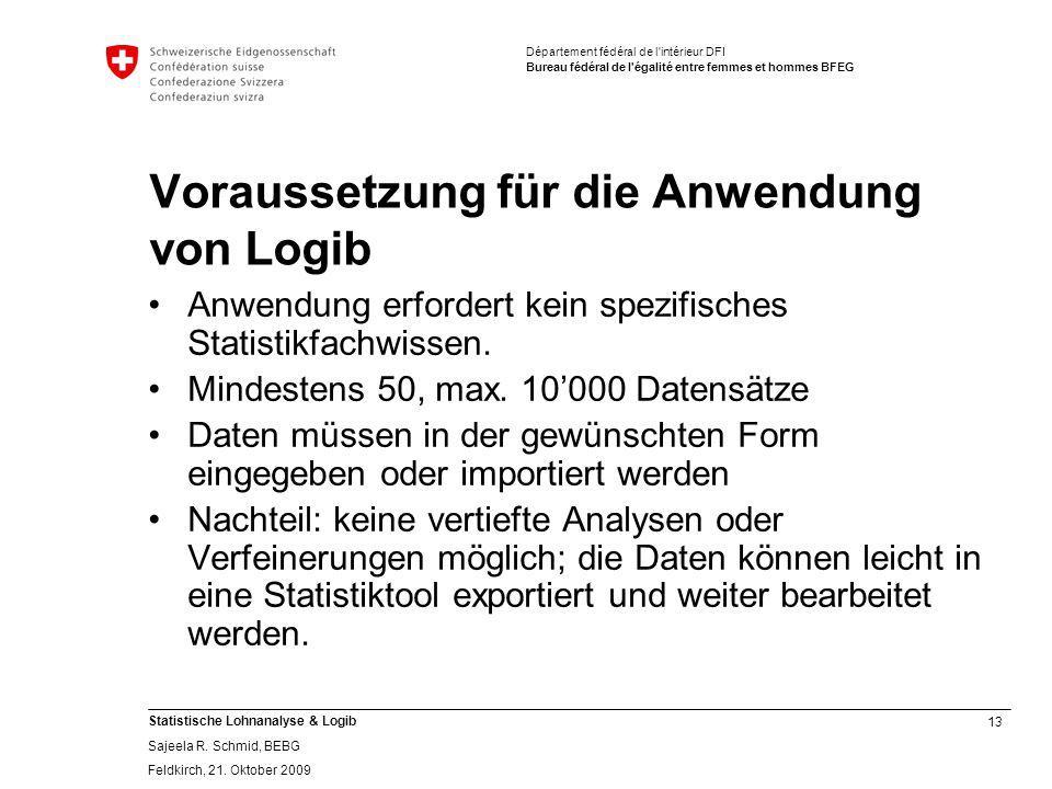 Voraussetzung für die Anwendung von Logib