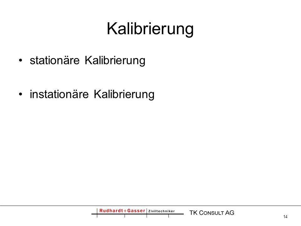 Kalibrierung stationäre Kalibrierung instationäre Kalibrierung