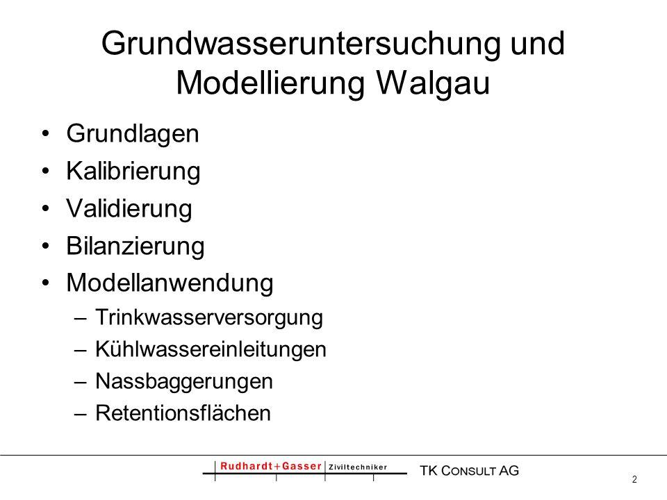 Grundwasseruntersuchung und Modellierung Walgau