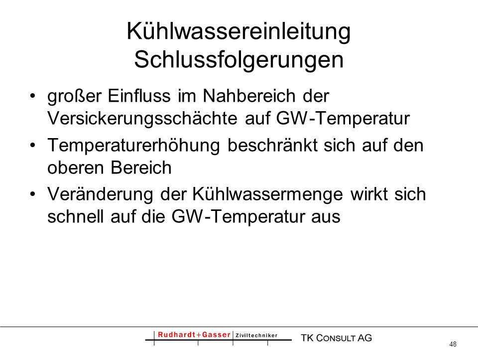 Kühlwassereinleitung Schlussfolgerungen