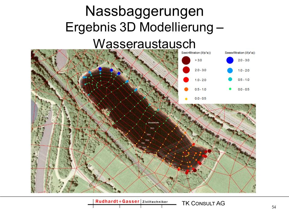 Nassbaggerungen Ergebnis 3D Modellierung – Wasseraustausch