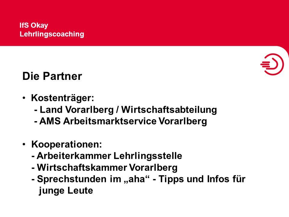 Die Partner Kostenträger: - Land Vorarlberg / Wirtschaftsabteilung