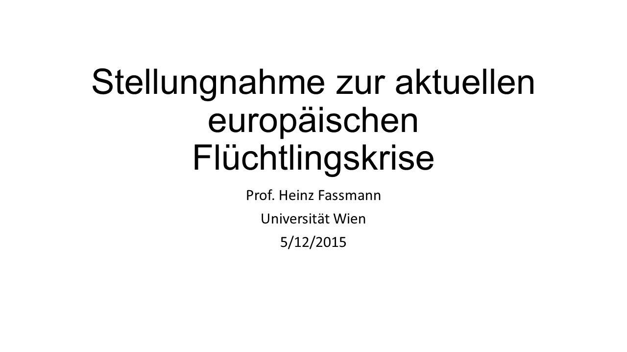 Stellungnahme zur aktuellen europäischen Flüchtlingskrise