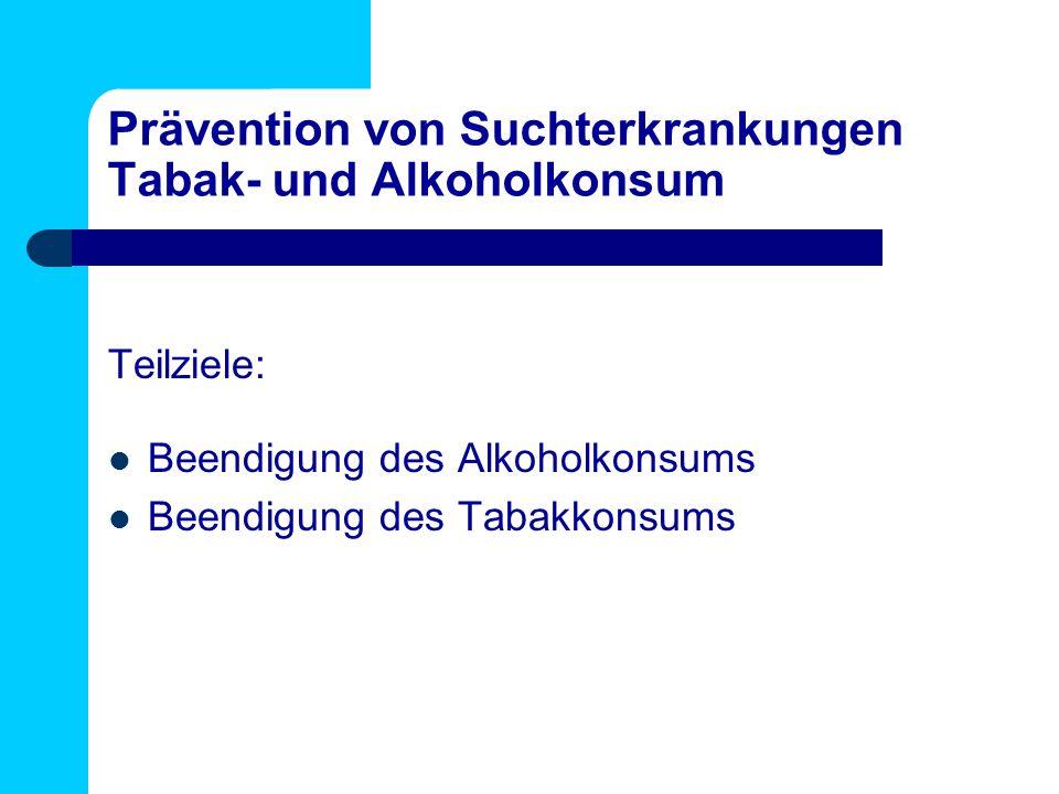 Prävention von Suchterkrankungen Tabak- und Alkoholkonsum