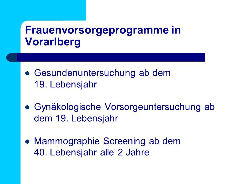 Frauenvorsorgeprogramme in Vorarlberg