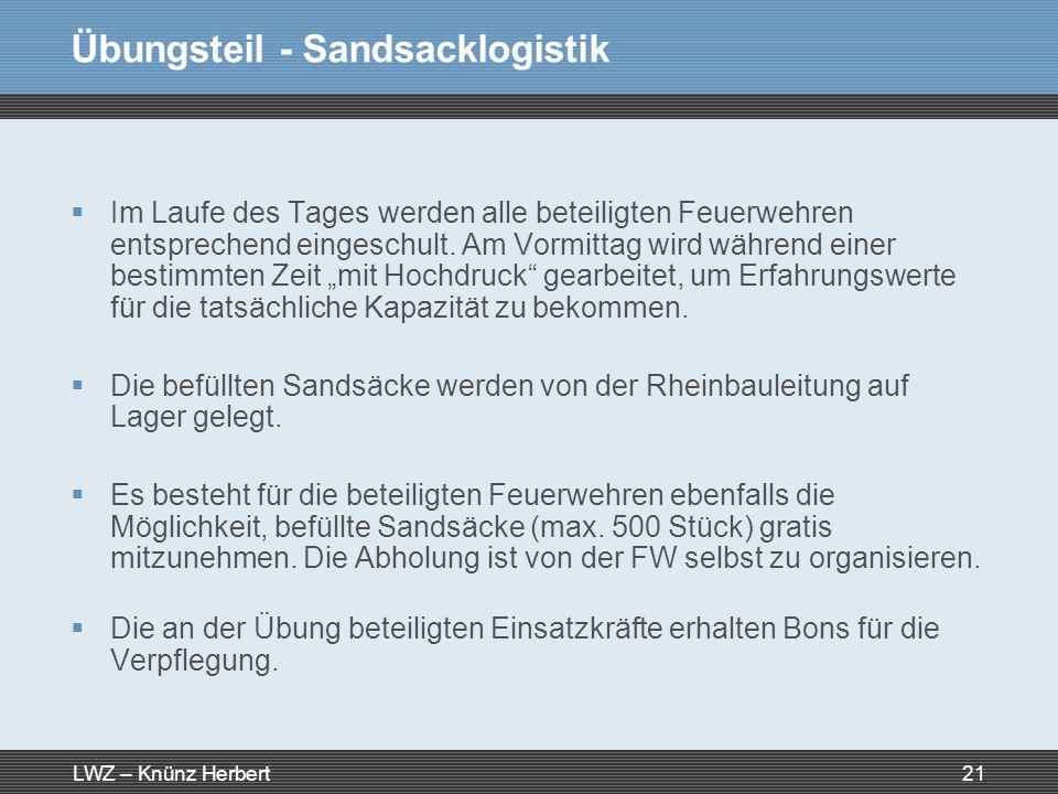 Übungsteil - Sandsacklogistik
