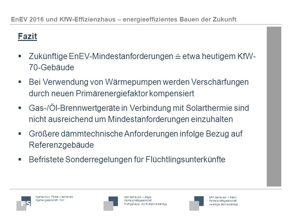 Fazit Zukünftige EnEV-Mindestanforderungen ≙ etwa heutigem KfW- 70-Gebäude.