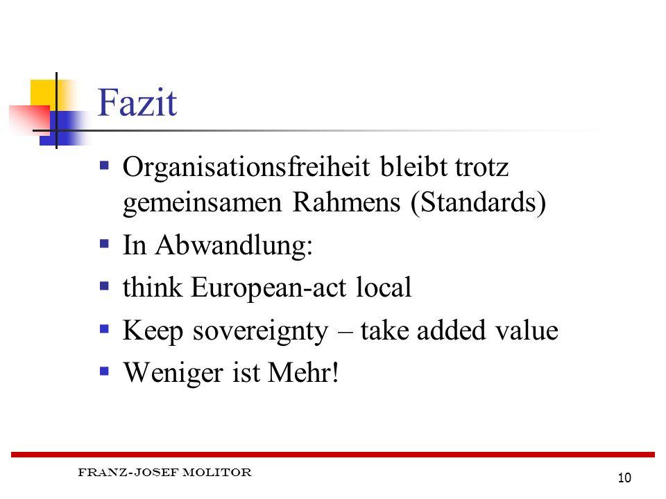 Fazit Organisationsfreiheit bleibt trotz gemeinsamen Rahmens (Standards) In Abwandlung: think European-act local.