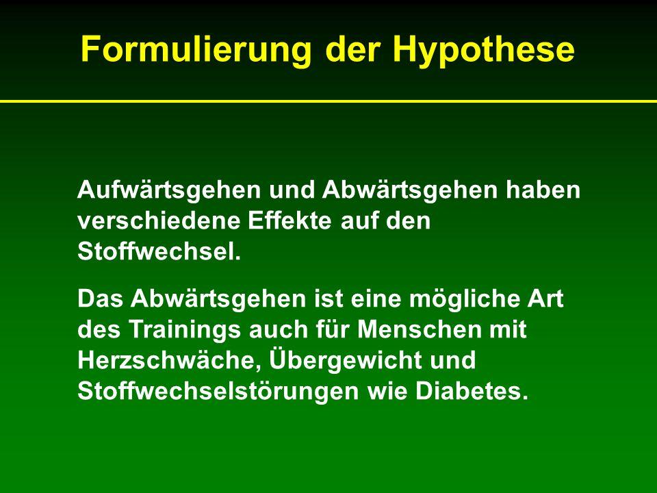 Formulierung der Hypothese