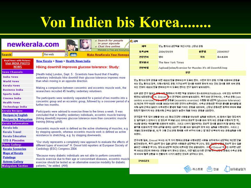 Von Indien bis Korea........