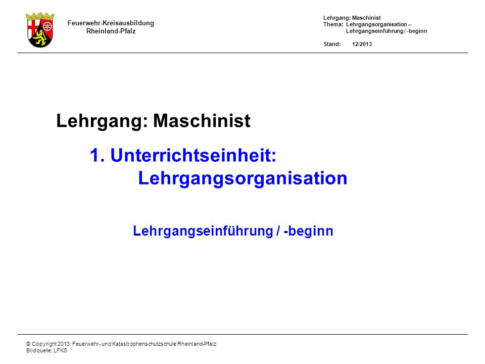 Lehrgangsorganisation