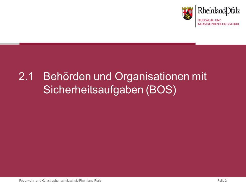 2.1 Behörden und Organisationen mit Sicherheitsaufgaben (BOS)
