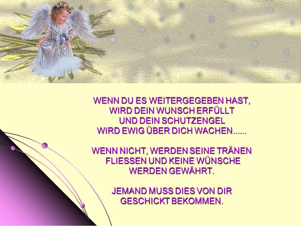 WENN DU ES WEITERGEGEBEN HAST, WIRD DEIN WUNSCH ERFÜLLT UND DEIN SCHUTZENGEL WIRD EWIG ÜBER DICH WACHEN......