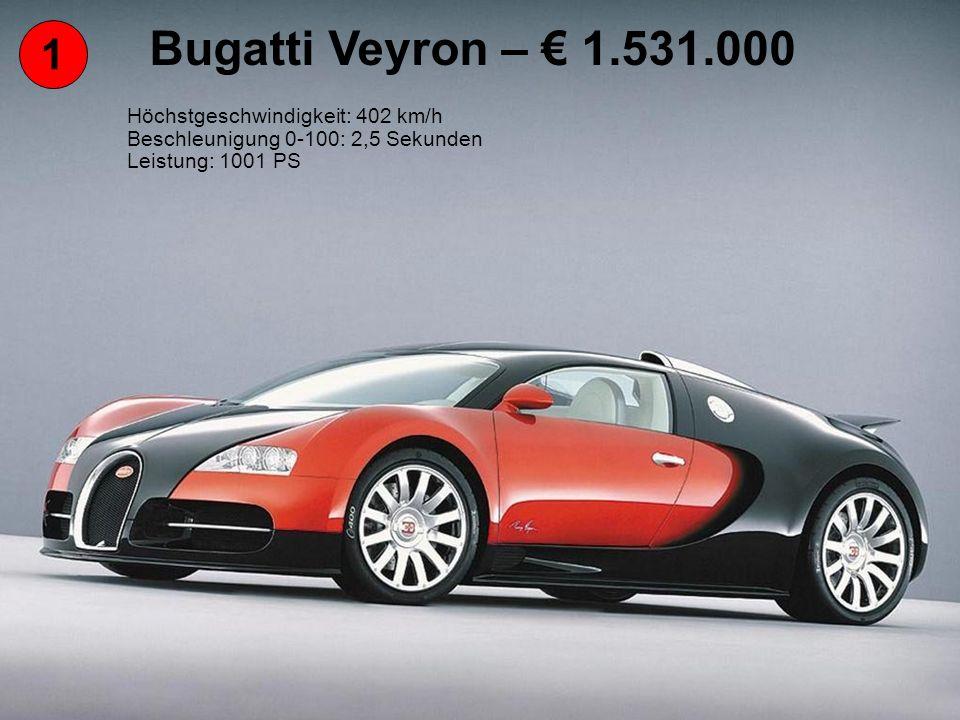 Bugatti Veyron – € 1.531.000 1 Höchstgeschwindigkeit: 402 km/h