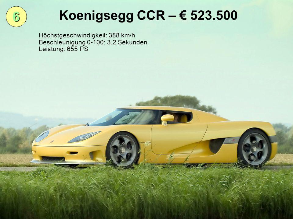 Koenigsegg CCR – € 523.500 6 Höchstgeschwindigkeit: 388 km/h