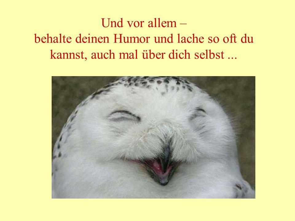 Und vor allem – behalte deinen Humor und lache so oft du kannst, auch mal über dich selbst ...