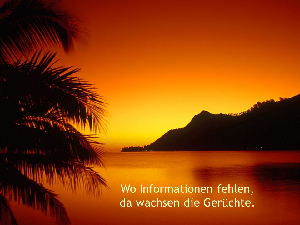 Wo Informationen fehlen, da wachsen die Gerüchte.