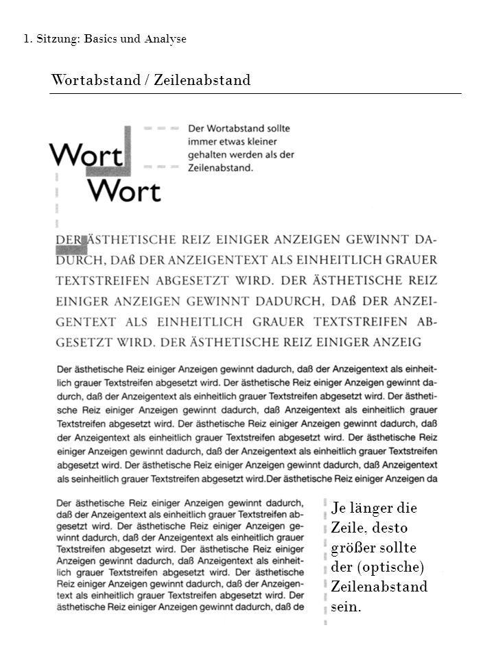 Wortabstand / Zeilenabstand