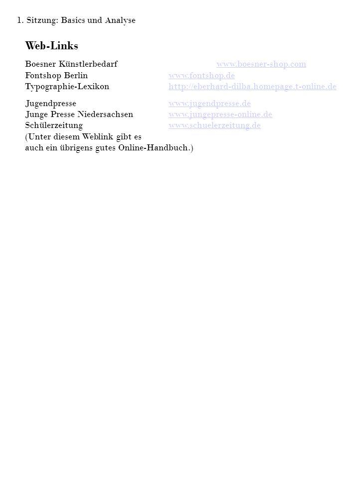 Web-Links 1. Sitzung: Basics und Analyse