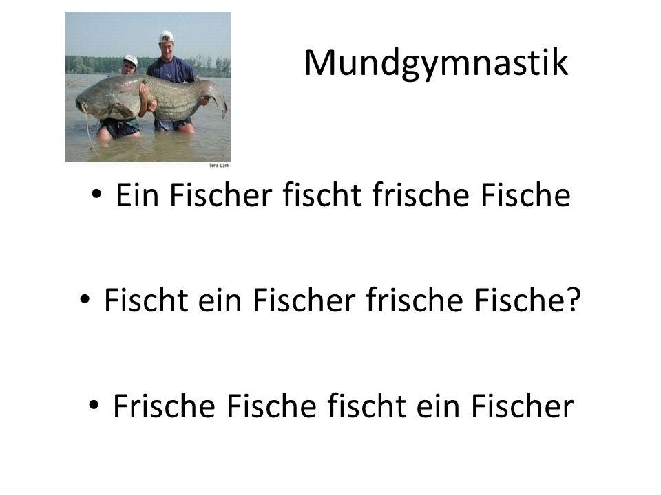 Mundgymnastik Ein Fischer fischt frische Fische