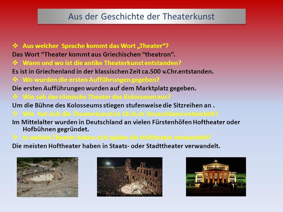 Aus der Geschichte der Theaterkunst