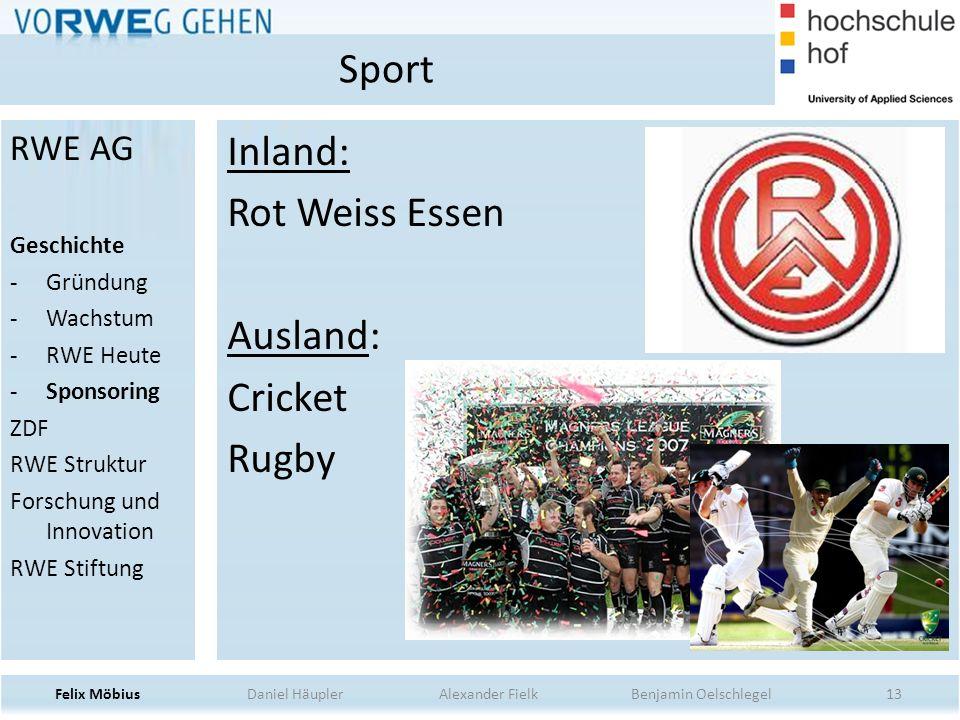 Sport Inland: Rot Weiss Essen Ausland: Cricket Rugby RWE AG Geschichte