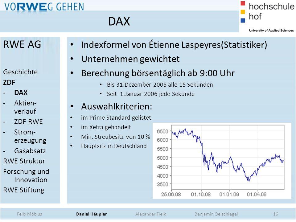 DAX RWE AG Indexformel von Étienne Laspeyres(Statistiker)