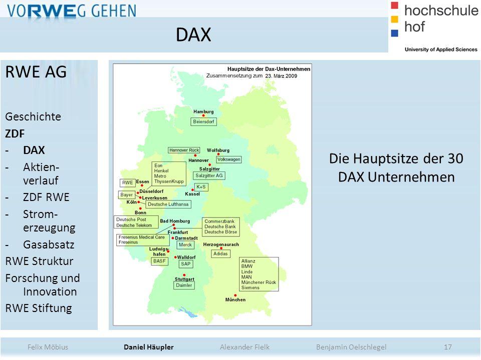Die Hauptsitze der 30 DAX Unternehmen
