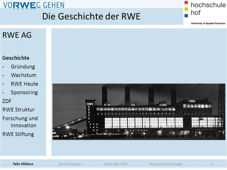 Die Geschichte der RWE RWE AG Geschichte Gründung Wachstum RWE Heute