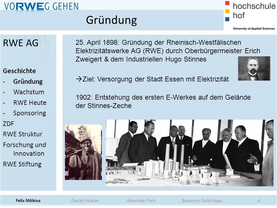 Gründung RWE AG Geschichte Gründung Wachstum RWE Heute Sponsoring ZDF