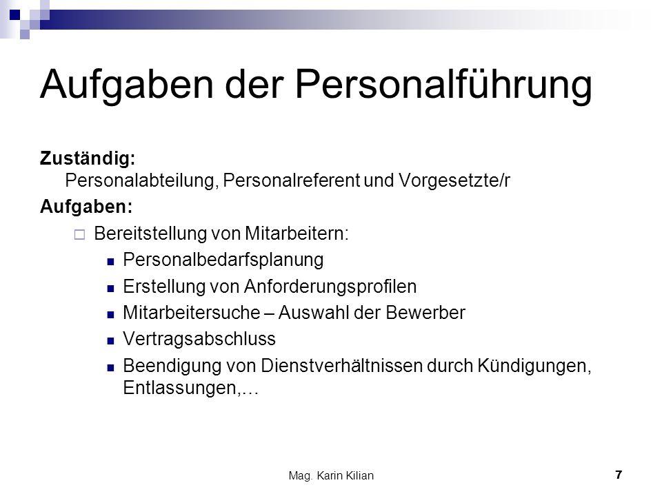 Aufgaben der Personalführung