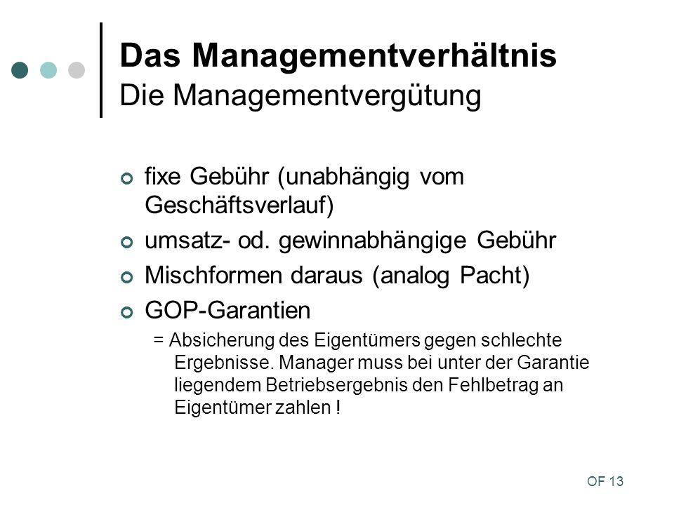 Das Managementverhältnis Die Managementvergütung