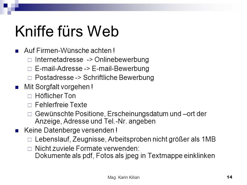 Kniffe fürs Web Auf Firmen-Wünsche achten !