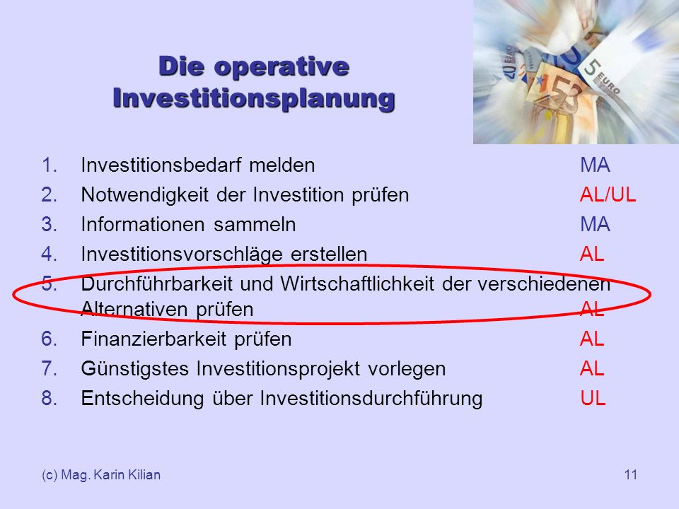 Die operative Investitionsplanung