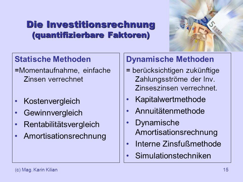 Die Investitionsrechnung (quantifizierbare Faktoren)