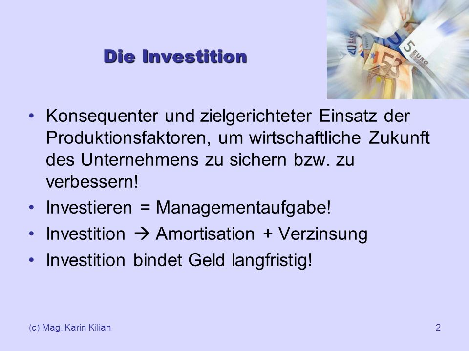 Investieren = Managementaufgabe!